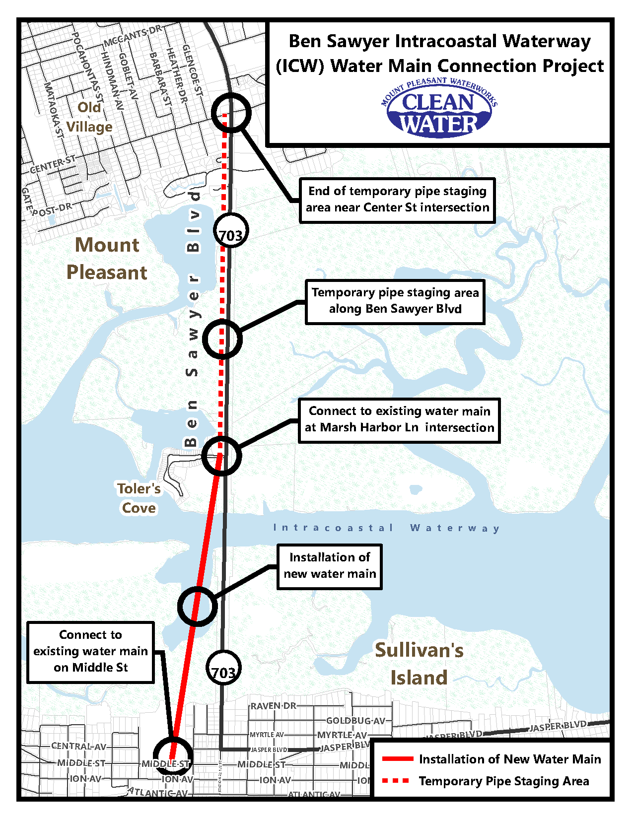 Ben Sawyer ICW Water Main Connection Project Area Map